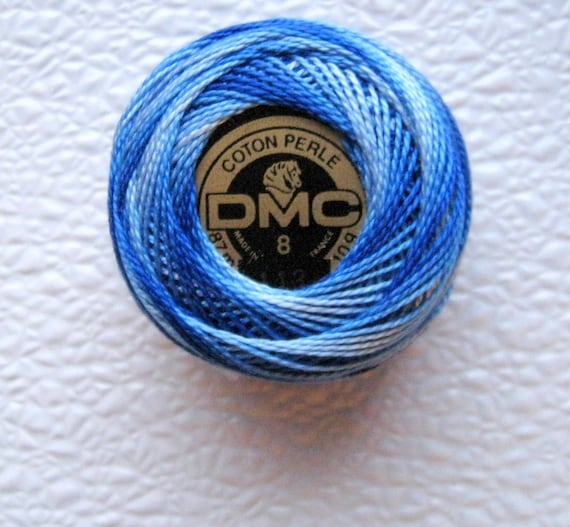 DMC Perle Cotton Thread Size 8 Variegated Royal Blue 113  Royal Blue and Blue