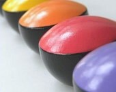 Custom Made to Order Hand Painted Wood Cabinet/Drawer Knobs Bright Colorful Rainbow Mod Dots Set of 6