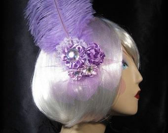 Lavender Purple Marie Antoinette Hair Clip, Rococo Fascinator, Ostrich Feather Fascinator