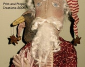 Primitive Folk Art Holiday Blessings Santa and Crow Doll Mailed Pattern