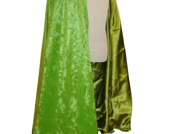 READY TO SHIP -   Lime Green Velvet and Satin Reversible Child's Play Cloak/ Cape