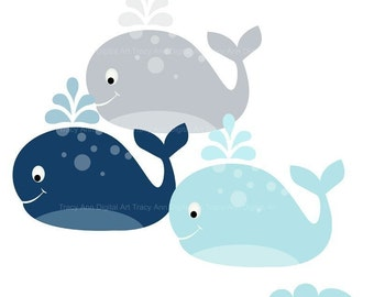 Whale Clipart commercial and personal use Navy Blue and Grey clip art whales