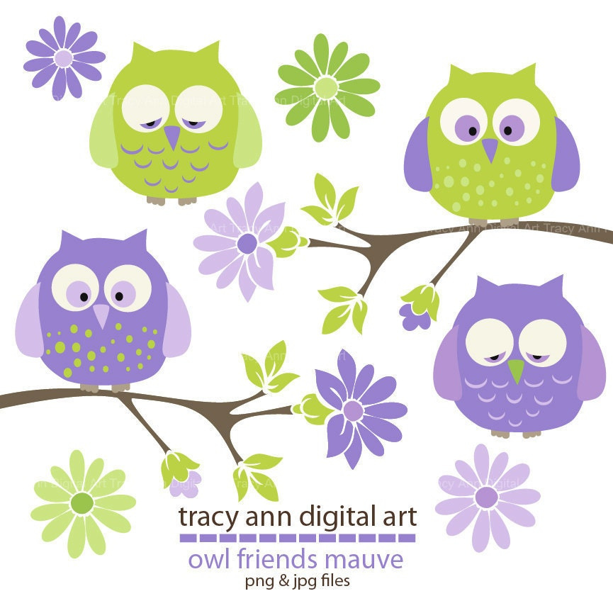 Pretty Baby Owls Clip Art Purple and lime by ...