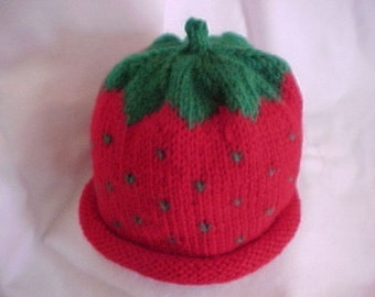 Strawberry Hat Handknitted Five Sizes NB to 4 yrs Handmade Cute Photo Prop