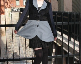 Steampunk jacket; pirate lolita coat; black jacket, grey and blue jacket. Pirate blazer, patchwork jacket, hippy jacket, MASQ