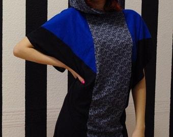 Blue and black tunika, urban kimono hoodie dress, blue dress, black dress, print dress, oversized dress, hooded, hipster dress, MASQ