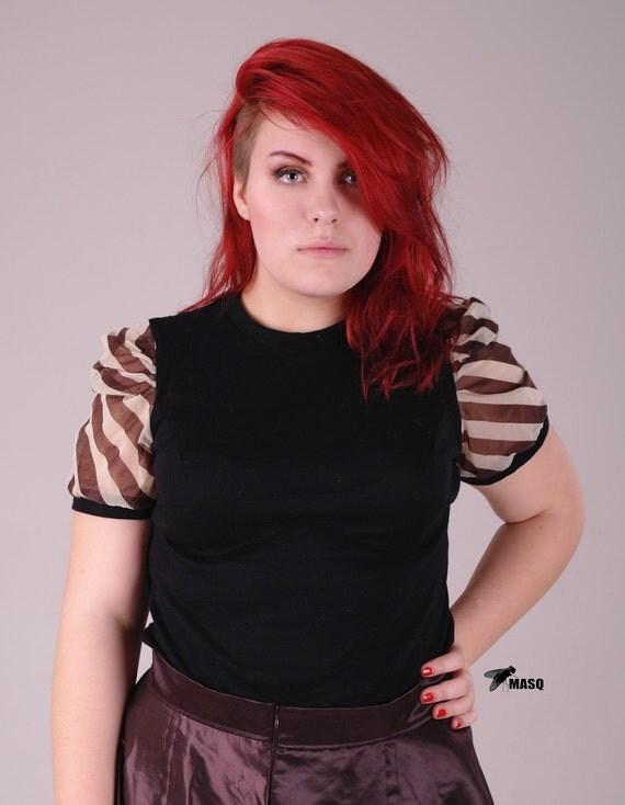 Sale MASQ black and brown-creme stripes shirt, plus size, steampunk. XL / 2XL