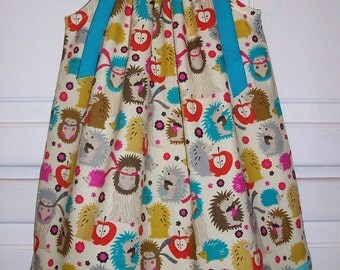 Pillowcase Dress with Hedgehog Dress Michael Miller Dress with Apples Girls Dresses Summer Dresses Kids Clothes Hedgehog Clothes