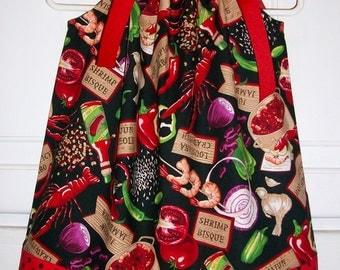 Crawfish Dress Pillowcase Dress with Crawfish Boil Crawfish Shirt cajun food Louisiana baby dress toddler dress girls dress Red and Black