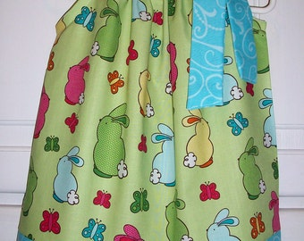 Easter Pillowcase Dress Bunny Rabbit Tails Green Aqua Hot Pink Spring baby toddler girl