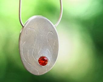 pendant, fine silver, ember, pmc, precious metal clay