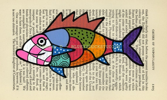Pink Harlequin Fish Folk Art original painting antique book page Patchwork Quilt checker board and polka dots