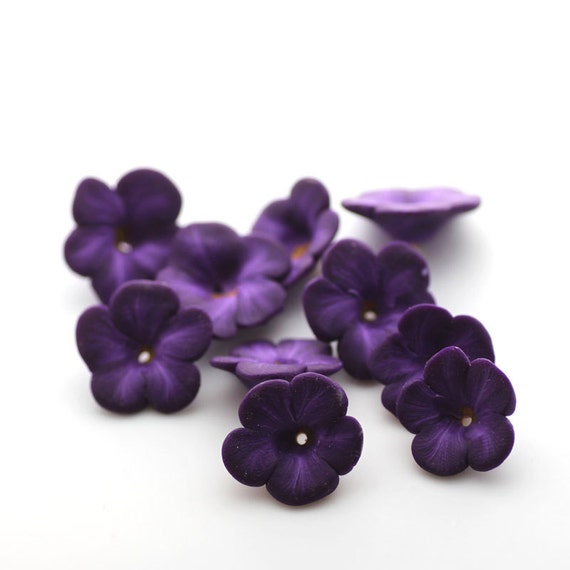 Violet Beads, Polymer Clay Flowers, Purple Beads, Flower Beads 10 Pieces