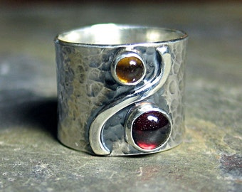 Sterling silver wide band ring with garnet and citrine - Autumn Afternoon