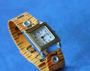 Tape Measure Watch in Orange - Square Face
