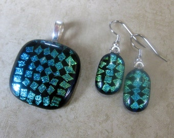 Green Dichroic Jewelry Set, Pendant and Earring Set, Fused Glass Jewelry Set, Dichroic Necklace, Ready to Ship - Electric Circuit -3059  -2