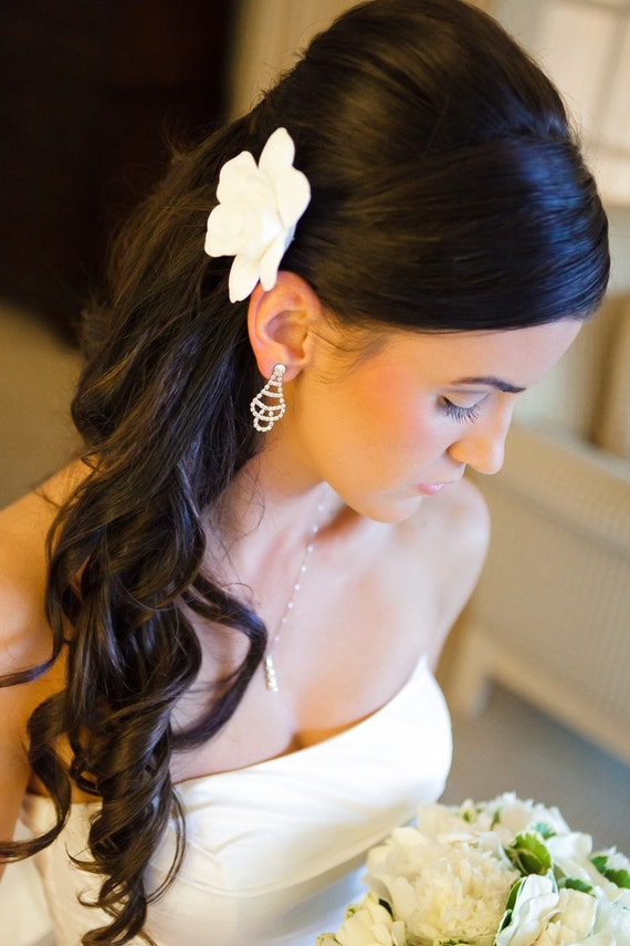 Ready to Ship - The Original Gardenia Hair Flower for Weddings as seen in Southern Weddings  Magazine in Antique White with Alligator Clip