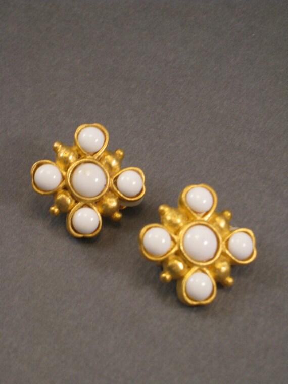 Greek Cross Earrings - 1960s Vintage Tifari White and Gold Earrings - Beaded - Clip On Jewelry - Authentic Original