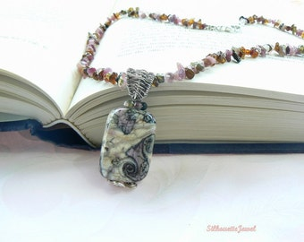 Tourmaline and Lampwork necklace