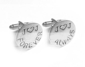 Forever Always Cufflinks, Wedding Initial Hand Stamped Personalized Cufflinks, Gift for him, silver or brass