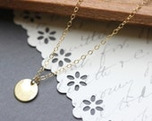 Gold Coin Necklace, Simple Everyday Necklace - 14 Karat Gold Filled