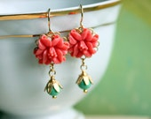 Maggy Coral Turquoise Earrings, Coral flower Earrings, Wedding Jewelry, Bridesmaid's Gift