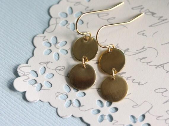 Gold Coin Earrings, Disc Earrings , Everyday Earring ,14 Karat gold filled