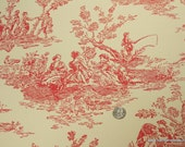 1940's Vintage Wallpaper - Red Toile on Cream
