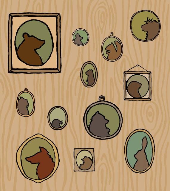 woodland cameo art print: family tree