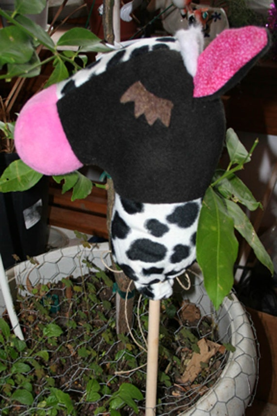 Mini Stick Moo Cow Collectable Doll Size Plush Animal by Nebraska Designer Kim Loberg