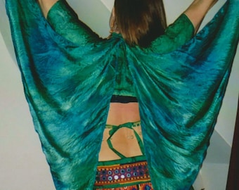 green SilK FaerIe WINGS tribal fusion Belly Dance costume fairy ATS gypsy fantasy washable blue