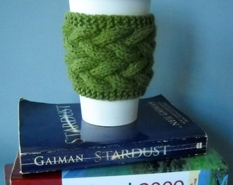 Coffee Sleeve Green Braided Cable Coffee Cuff - Free Shipping