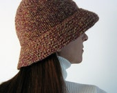Cloche Hat Knitted in Tweed Marsala Wool - Wool Hat with Brim