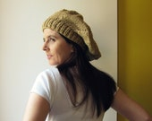 Beret Knitted in Camel Soft Wool Blend - Woman Hat