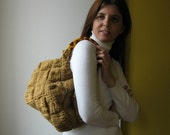 Handbag Knitted in Ochre with Faux Tortoise Shell Handles