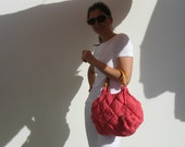 Medium Tote Bag Knit in Brink Pink Cotton with Rattan Handles