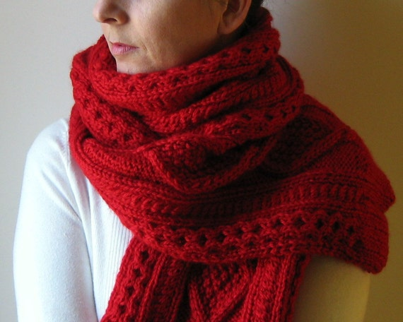 Aran Scarf Knitted in Red Merino Blend Wool