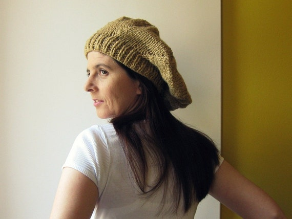 French Beret, Ochre, Slouchy Hat, Womens Hats, Winter Hat, Knit Beret, Chunky Knit Hat, Cute Hats, Hand Knit Hat, Gifts For Her