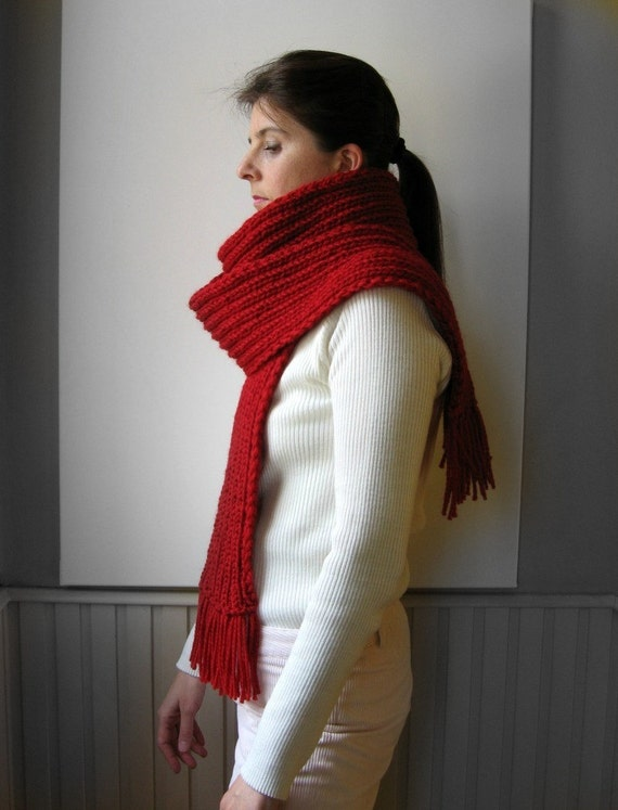 Scarf Knitted in Red Merino Wool