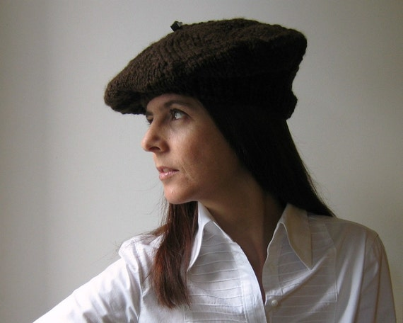 Brown Hat Tam Knitted in Soft Wool Blend