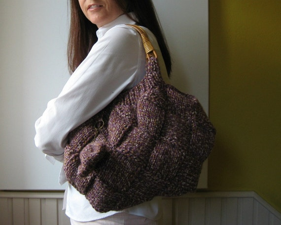 Tweed Lavender Tote Bag Hand Knitted with Rattan Handles