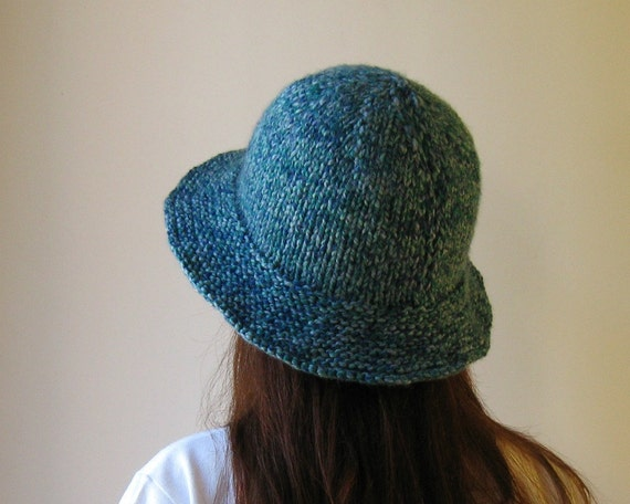 Cloche Hat Knitted in Tweed Teal Blue