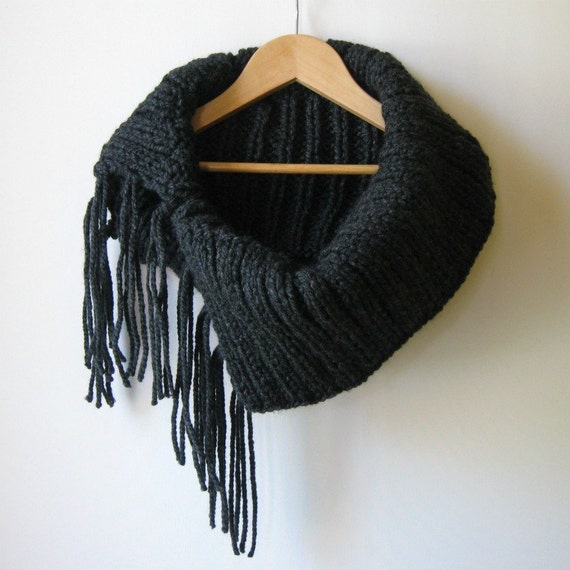 Chunky Fringes Cowl Hand Knitted in Charcoal Wool