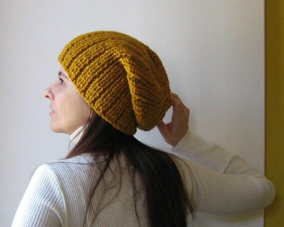Yellow Beanie Hat Hand Knitted