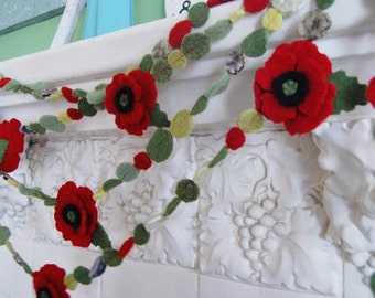 2 felted red poppy garlands total of 20 feet - special price