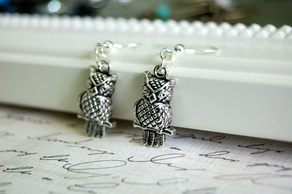 CLEARANCE SALE Antique Silver Owl Earrings No. 2