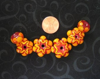 CitruS FloweR BouqueT - Set of 6 Lampwork Beads Great for handmade gifts