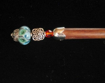 Waiting for the Sun - Hair stick / wand with lampwork glass bead sterling silver and Swarovski crystals