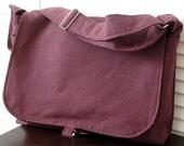 15 inch Laptop Black Canvas & Purple Hemp Midsize Messenger Bag
