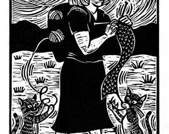 When Knitters Are Pilgrims - original linoleum block print